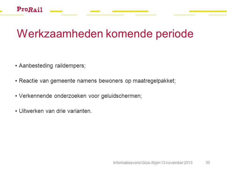 Werkzaamheden komende periode Informatieavond Gilze-Rijen 13 november 2013 30 Aanbesteding raildempers; Reactie van gemeente namens bewoners op maatre