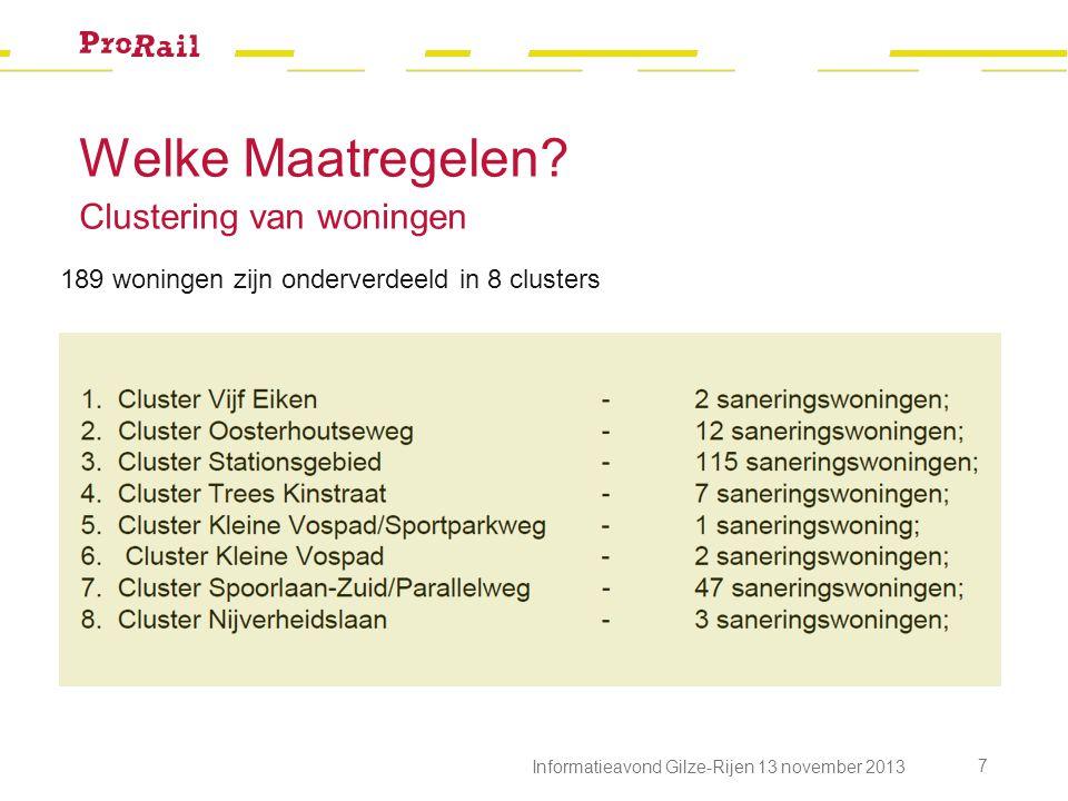Welke Maatregelen? Clustering van woningen Informatieavond Gilze-Rijen 13 november 2013 7 189 woningen zijn onderverdeeld in 8 clusters