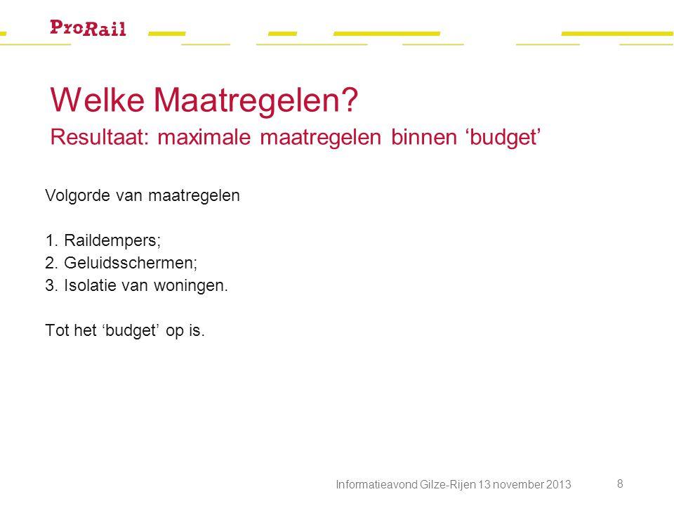 Informatieavond Gilze-Rijen 13 november 2013 8 Volgorde van maatregelen 1. Raildempers; 2. Geluidsschermen; 3. Isolatie van woningen. Tot het 'budget'