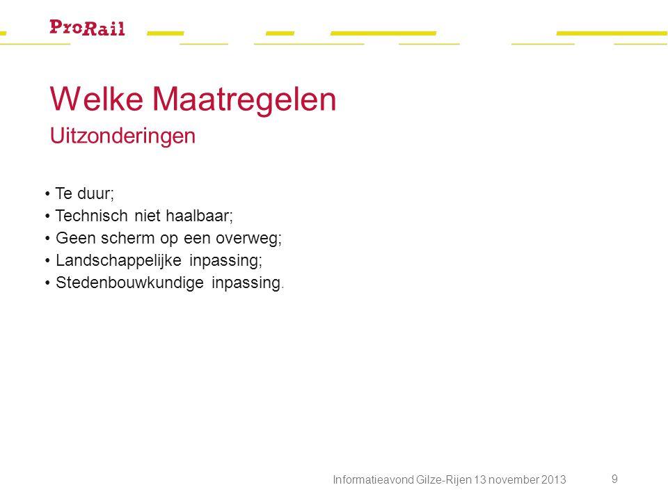 Informatieavond Gilze-Rijen 13 november 2013 9 Te duur; Technisch niet haalbaar; Geen scherm op een overweg; Landschappelijke inpassing; Stedenbouwkun
