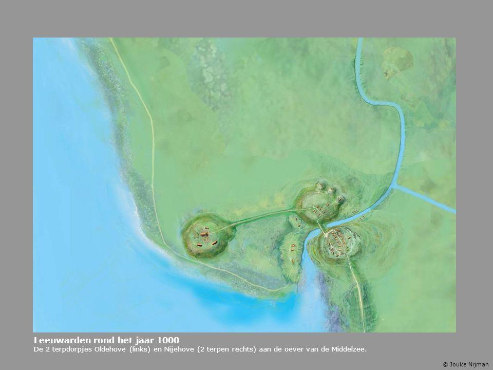 Leeuwarden rond het jaar 1000 De 2 terpdorpjes Oldehove (links) en Nijehove (2 terpen rechts) aan de oever van de Middelzee. © Jouke Nijman