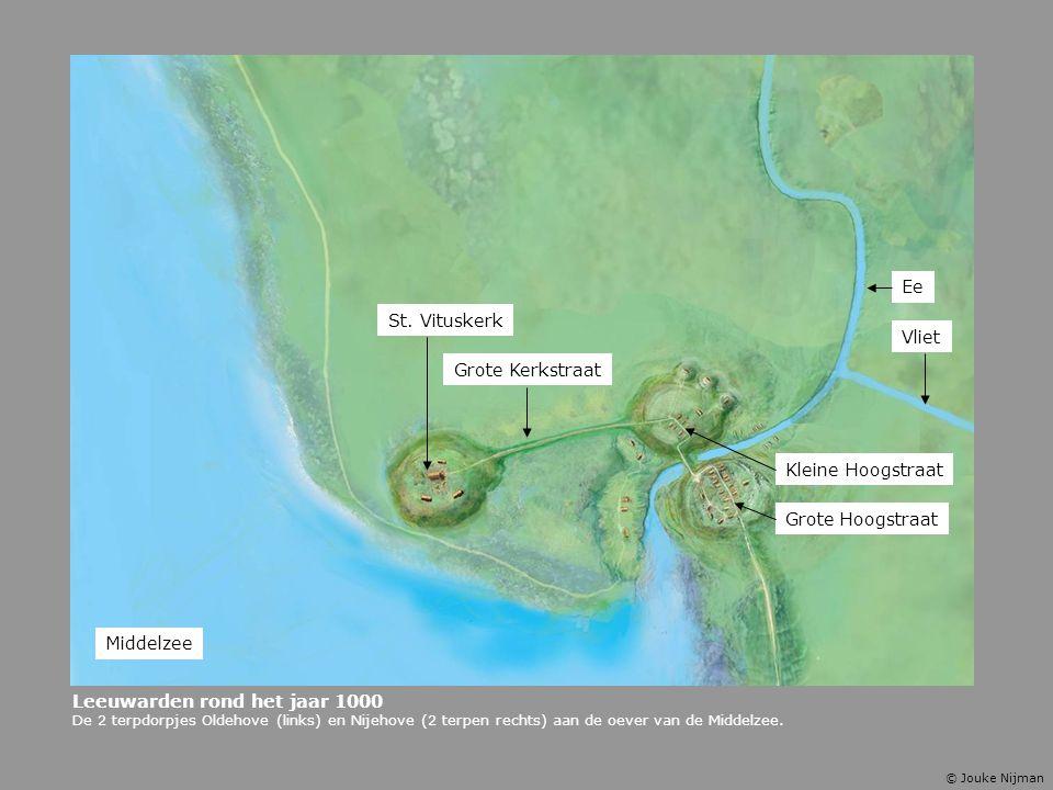 Leeuwarden rond het jaar 1000 De 2 terpdorpjes Oldehove (links) en Nijehove (2 terpen rechts) aan de oever van de Middelzee. Kleine Hoogstraat Grote H