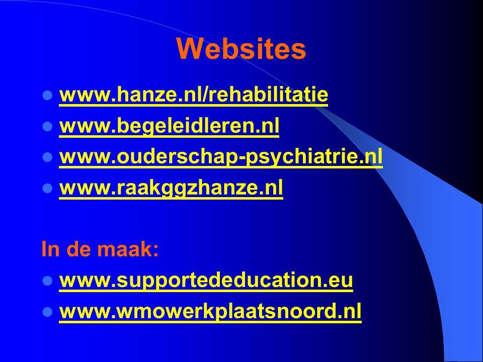 Websites www.hanze.nl/rehabilitatie www.begeleidleren.nl www.ouderschap-psychiatrie.nl www.raakggzhanze.nl In de maak: www.supportededucation.eu www.wmowerkplaatsnoord.nl