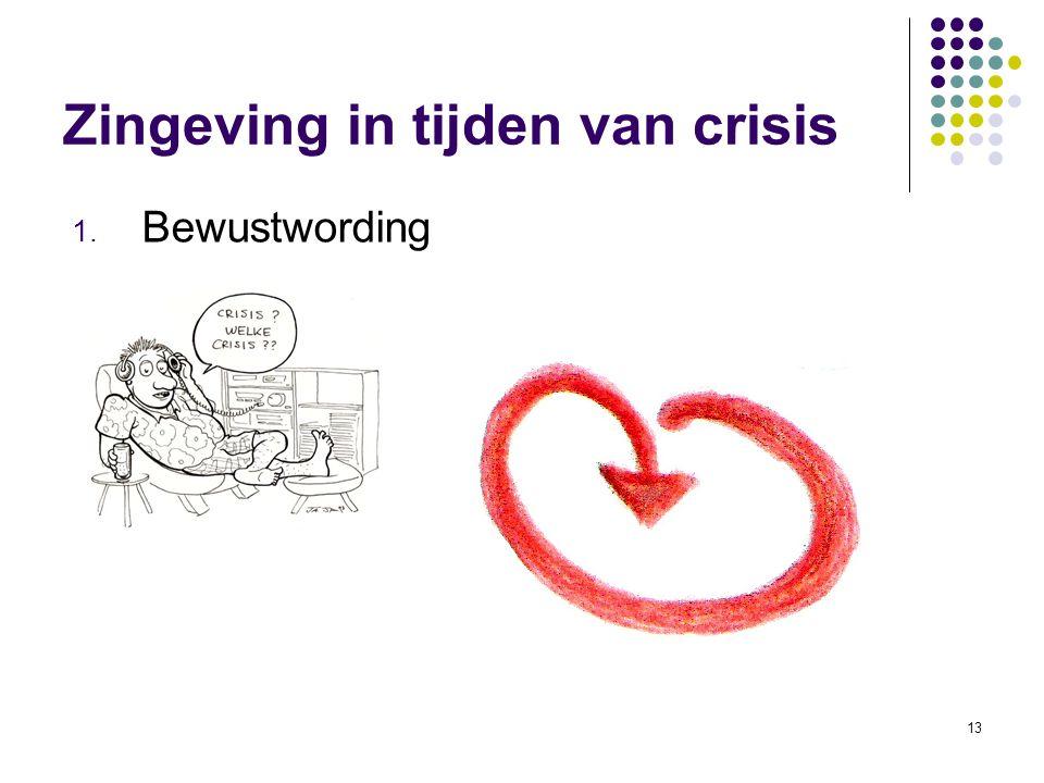 13 Zingeving in tijden van crisis 1. Bewustwording
