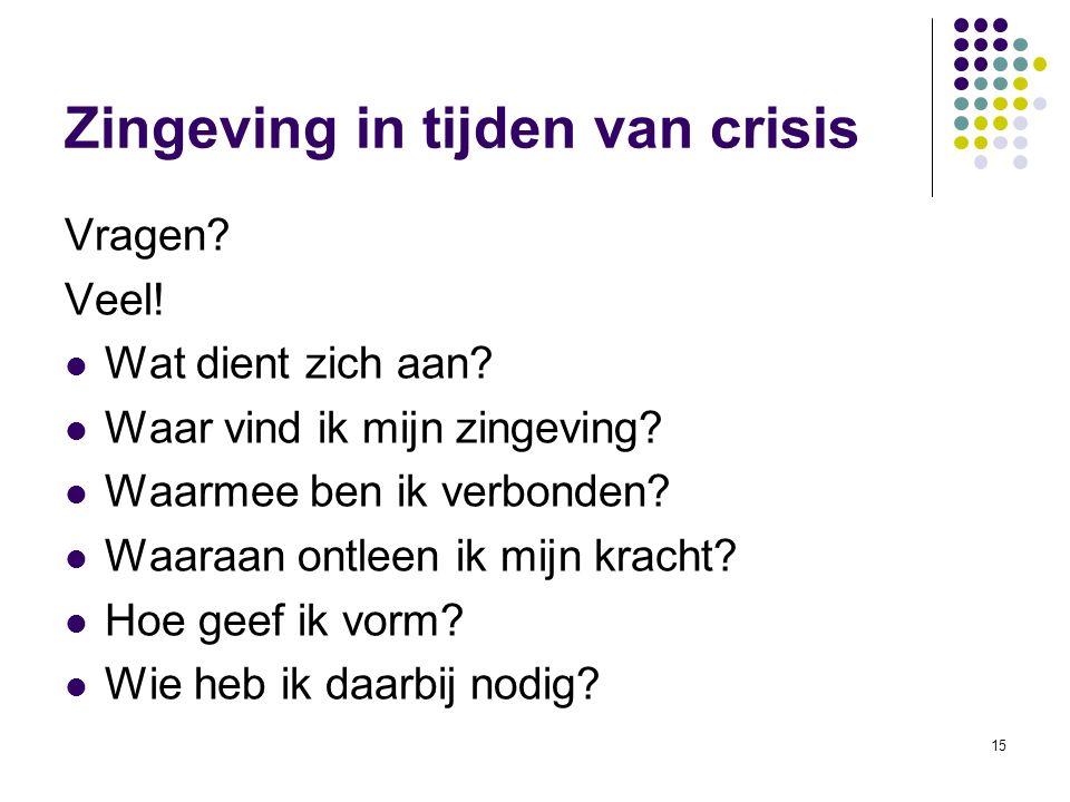 15 Zingeving in tijden van crisis Vragen? Veel! Wat dient zich aan? Waar vind ik mijn zingeving? Waarmee ben ik verbonden? Waaraan ontleen ik mijn kra