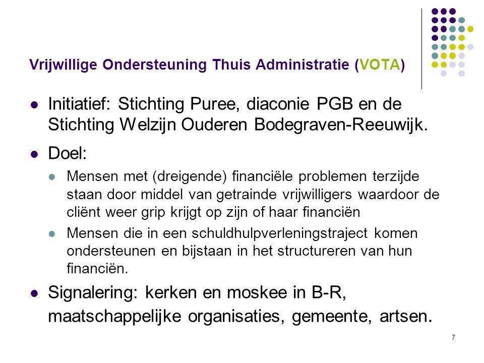7 Vrijwillige Ondersteuning Thuis Administratie (VOTA) Initiatief: Stichting Puree, diaconie PGB en de Stichting Welzijn Ouderen Bodegraven-Reeuwijk.