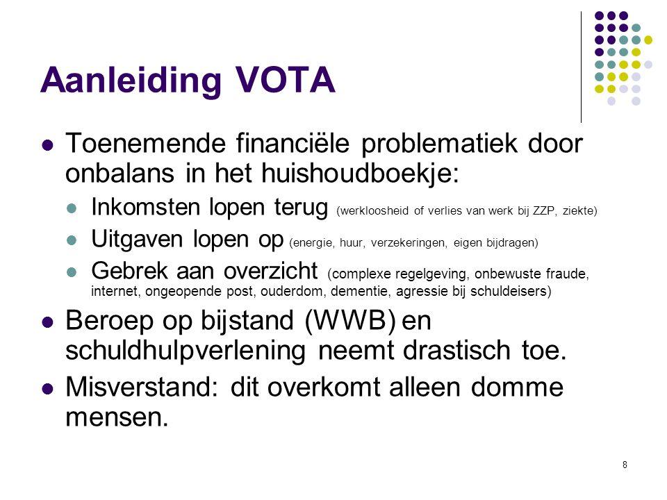 9 Doel van Vota In eerste instantie mensen helpen die in een financiële crisis (dreigen) terecht te komen.