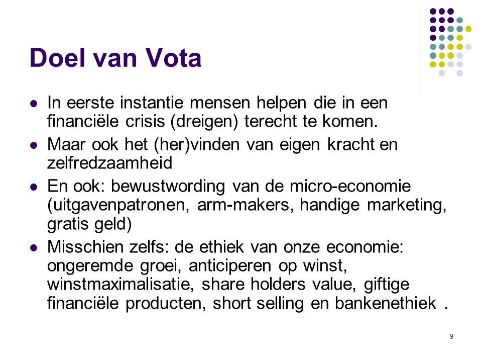 9 Doel van Vota In eerste instantie mensen helpen die in een financiële crisis (dreigen) terecht te komen. Maar ook het (her)vinden van eigen kracht e