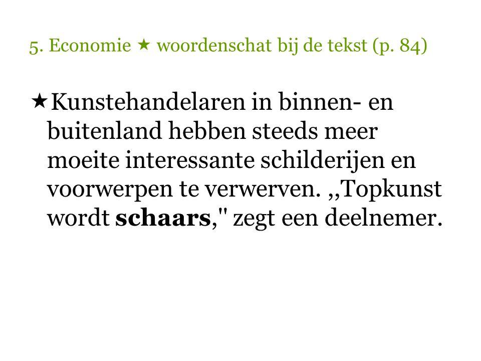 5. Economie  woordenschat bij de tekst (p. 84)