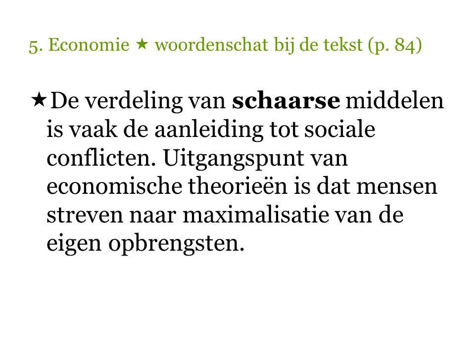 5.Economie  woordenschat bij de tekst (p. 84)  ………………….