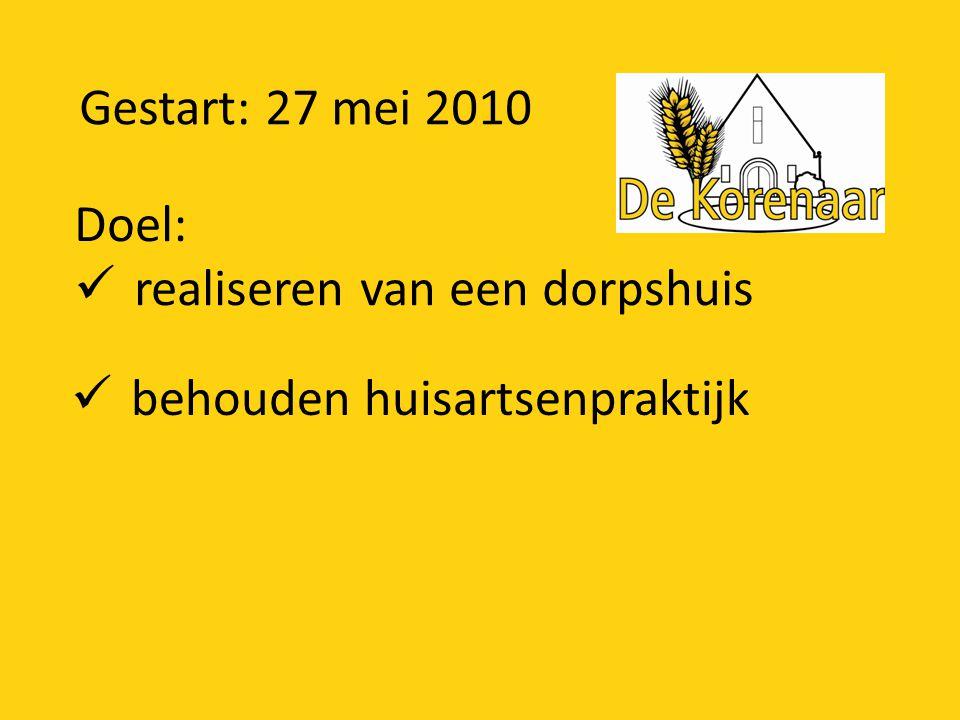 Gestart: 27 mei 2010 Doel: realiseren van een dorpshuis behouden huisartsenpraktijk