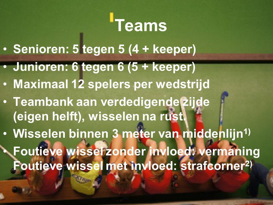 Teams Senioren: 5 tegen 5 (4 + keeper) Junioren: 6 tegen 6 (5 + keeper) Maximaal 12 spelers per wedstrijd Teambank aan verdedigende zijde (eigen helft