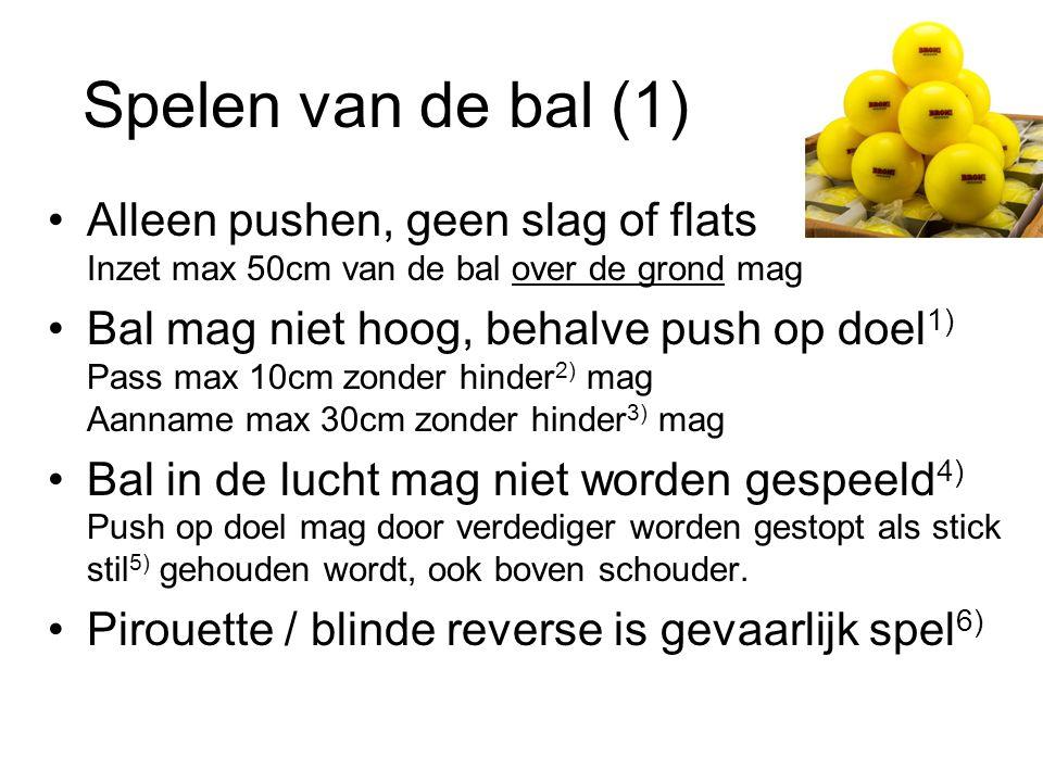Spelen van de bal (1) Alleen pushen, geen slag of flats Inzet max 50cm van de bal over de grond mag Bal mag niet hoog, behalve push op doel 1) Pass ma