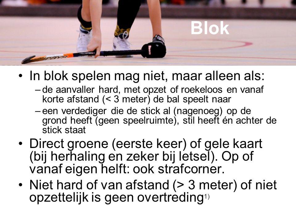 Blok In blok spelen mag niet, maar alleen als: –de aanvaller hard, met opzet of roekeloos en vanaf korte afstand (< 3 meter) de bal speelt naar –een v