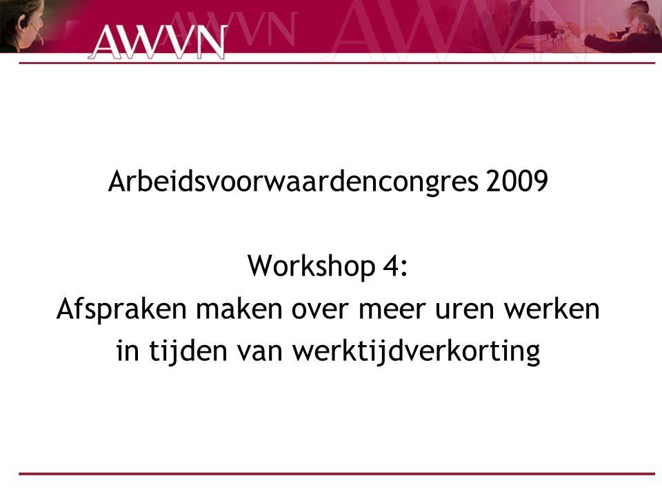 Arbeidsvoorwaardencongres 2009 Workshop 4: Afspraken maken over meer uren werken in tijden van werktijdverkorting