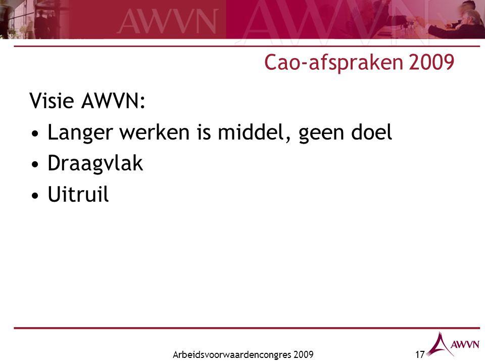 Arbeidsvoorwaardencongres 200917 Cao-afspraken 2009 Visie AWVN: Langer werken is middel, geen doel Draagvlak Uitruil
