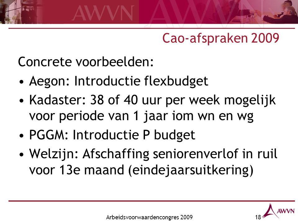 Arbeidsvoorwaardencongres 200918 Cao-afspraken 2009 Concrete voorbeelden: Aegon: Introductie flexbudget Kadaster: 38 of 40 uur per week mogelijk voor