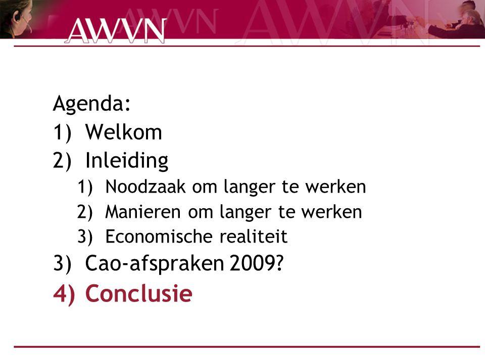 Agenda: 1)Welkom 2)Inleiding 1)Noodzaak om langer te werken 2)Manieren om langer te werken 3)Economische realiteit 3)Cao-afspraken 2009? 4)Conclusie