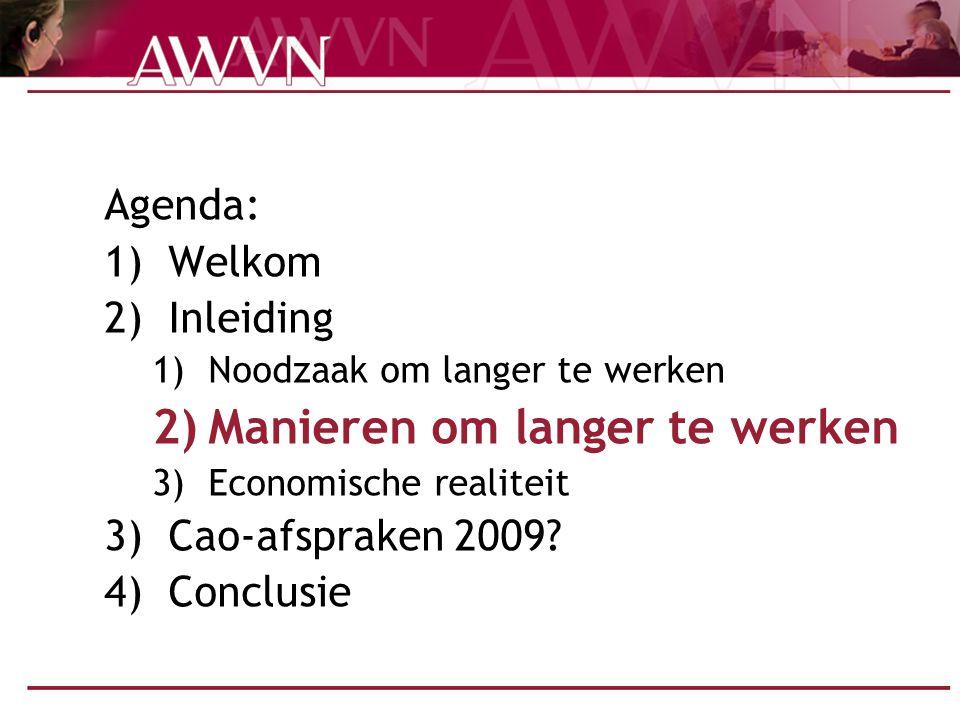 Arbeidsvoorwaardencongres 200920 Conclusie Afspraken over langer werken: Het kan Het moet Geen doel maar middel Draagvlak Uitruil