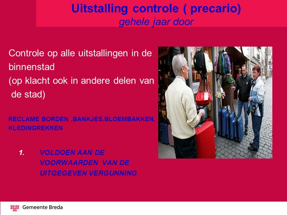 Uitstalling controle ( precario) gehele jaar door Controle op alle uitstallingen in de binnenstad (op klacht ook in andere delen van de stad) RECLAME