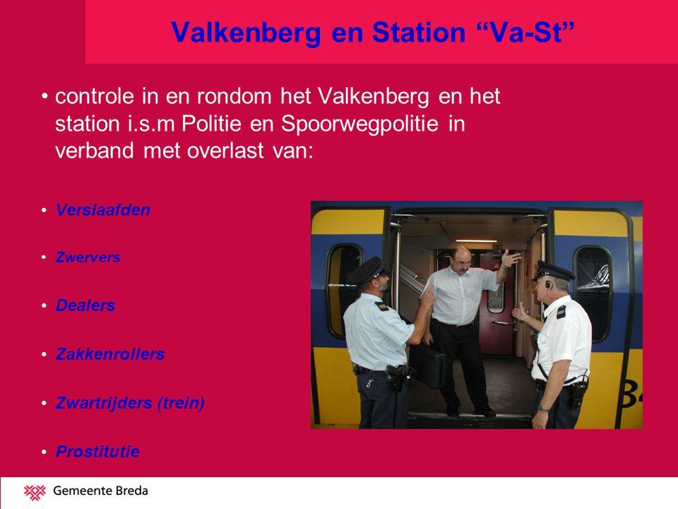 Valkenberg en Station Va-St controle in en rondom het Valkenberg en het station i.s.m Politie en Spoorwegpolitie in verband met overlast van: Verslaafden Zwervers Dealers Zakkenrollers Zwartrijders (trein) Prostitutie