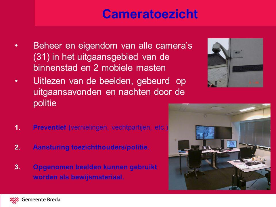 Cameratoezicht Beheer en eigendom van alle camera's (31) in het uitgaansgebied van de binnenstad en 2 mobiele masten Uitlezen van de beelden, gebeurd op uitgaansavonden en nachten door de politie 1.Preventief (vernielingen, vechtpartijen, etc.) 2.Aansturing toezichthouders/politie.
