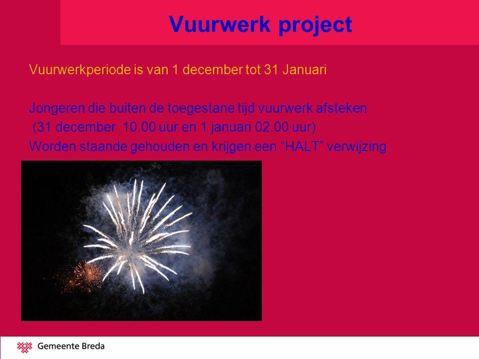 Vuurwerk project Vuurwerkperiode is van 1 december tot 31 Januari Jongeren die buiten de toegestane tijd vuurwerk afsteken (31 december 10.00 uur en 1 januari 02.00 uur) Worden staande gehouden en krijgen een HALT verwijzing