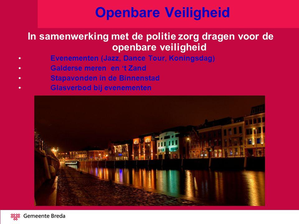Openbare Veiligheid In samenwerking met de politie zorg dragen voor de openbare veiligheid Evenementen (Jazz, Dance Tour, Koningsdag) Galderse meren e