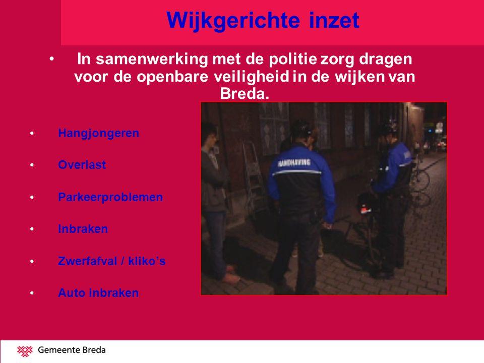 Wijkgerichte inzet In samenwerking met de politie zorg dragen voor de openbare veiligheid in de wijken van Breda. Hangjongeren Overlast Parkeerproblem