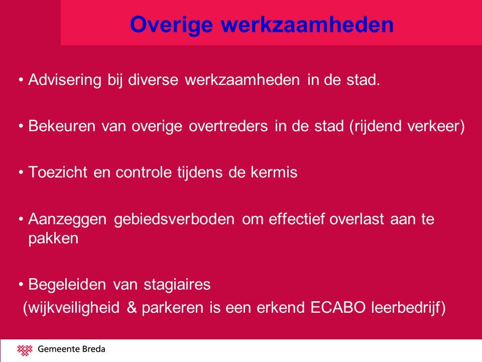 Overige werkzaamheden Advisering bij diverse werkzaamheden in de stad. Bekeuren van overige overtreders in de stad (rijdend verkeer) Toezicht en contr