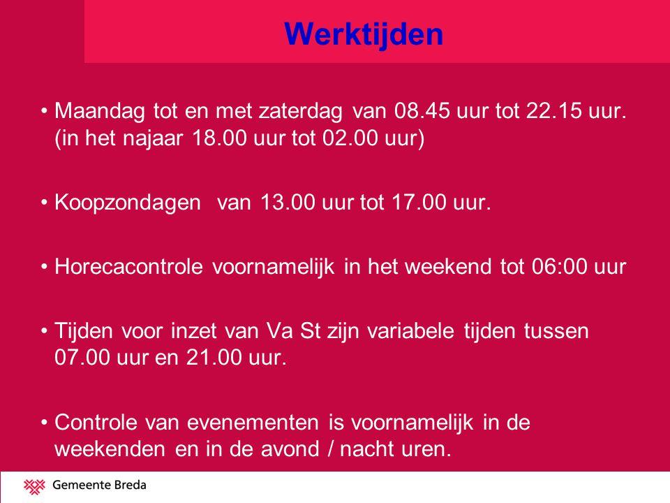 Werktijden Maandag tot en met zaterdag van 08.45 uur tot 22.15 uur.