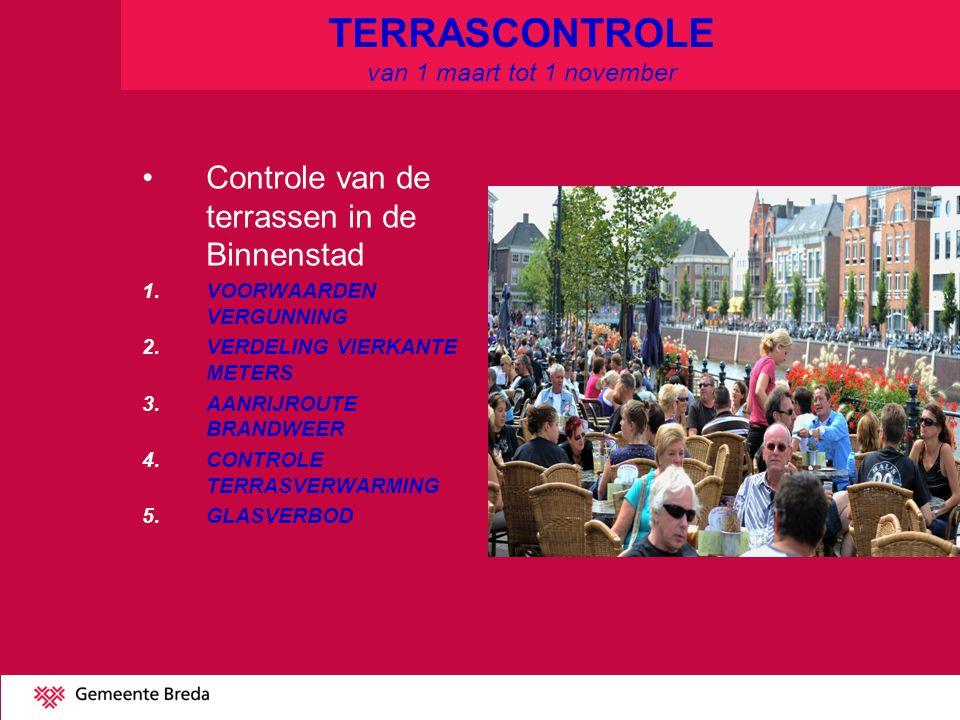 TERRASCONTROLE van 1 maart tot 1 november Controle van de terrassen in de Binnenstad 1.VOORWAARDEN VERGUNNING 2.VERDELING VIERKANTE METERS 3.AANRIJROUTE BRANDWEER 4.CONTROLE TERRASVERWARMING 5.GLASVERBOD