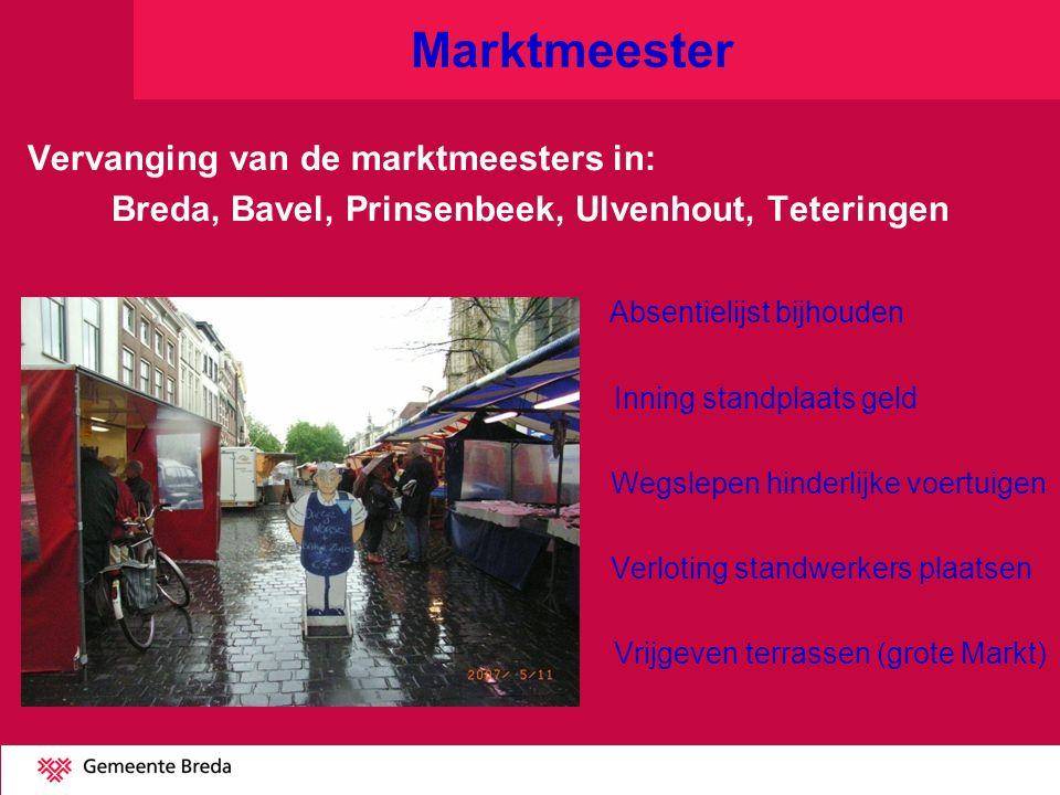 Marktmeester Vervanging van de marktmeesters in: Breda, Bavel, Prinsenbeek, Ulvenhout, Teteringen Absentielijst bijhouden Inning standplaats geld Wegs
