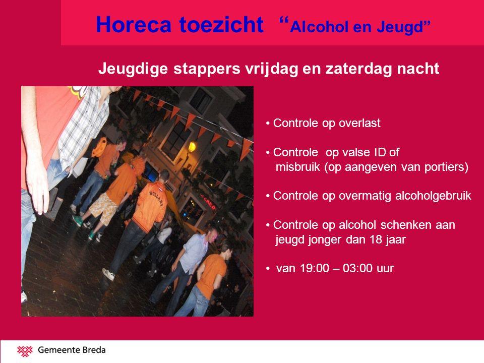 Horeca toezicht Alcohol en Jeugd Jeugdige stappers vrijdag en zaterdag nacht Controle op overlast Controle op valse ID of misbruik (op aangeven van portiers) Controle op overmatig alcoholgebruik Controle op alcohol schenken aan jeugd jonger dan 18 jaar van 19:00 – 03:00 uur