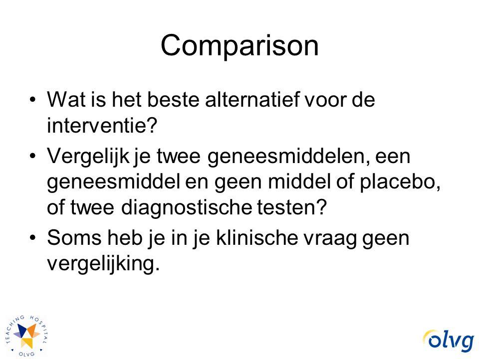 Comparison Wat is het beste alternatief voor de interventie? Vergelijk je twee geneesmiddelen, een geneesmiddel en geen middel of placebo, of twee dia