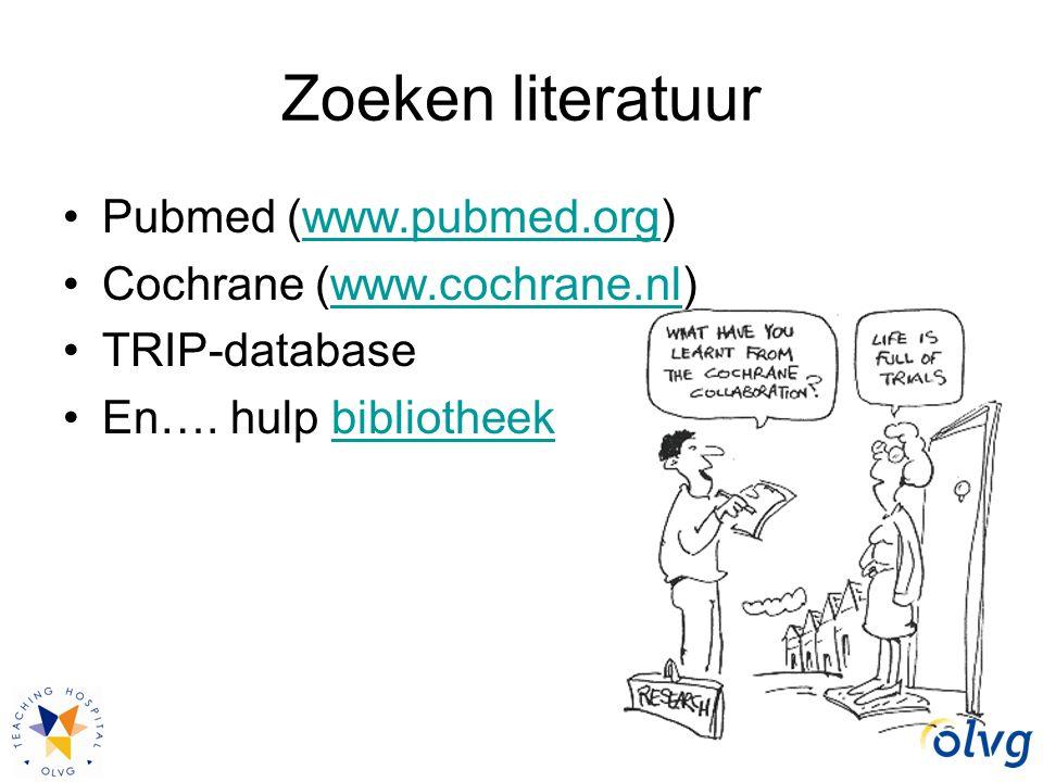 Zoeken literatuur Pubmed (www.pubmed.org)www.pubmed.org Cochrane (www.cochrane.nl)www.cochrane.nl TRIP-database En…. hulp bibliotheekbibliotheek