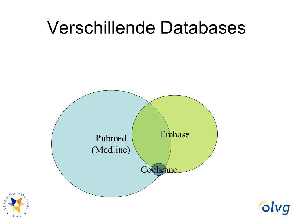 Pubmed (Medline) Embase Cochrane Verschillende Databases