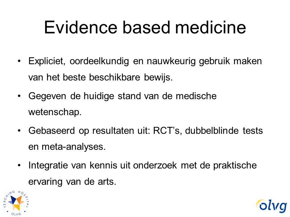 Evidence based medicine Expliciet, oordeelkundig en nauwkeurig gebruik maken van het beste beschikbare bewijs. Gegeven de huidige stand van de medisch