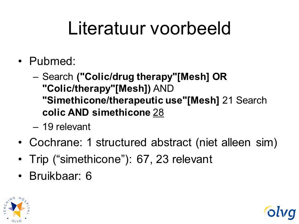 Literatuur voorbeeld Pubmed: –Search (