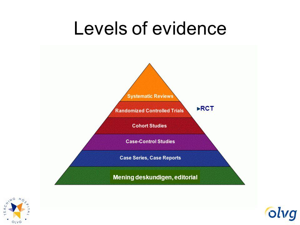 Levels of evidence Mening deskundigen, editorial RCT