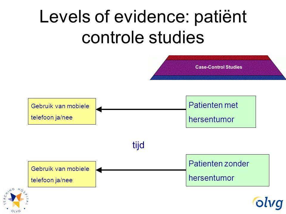 Levels of evidence: patiënt controle studies Patienten met hersentumor Patienten zonder hersentumor Gebruik van mobiele telefoon ja/nee tijd Gebruik v