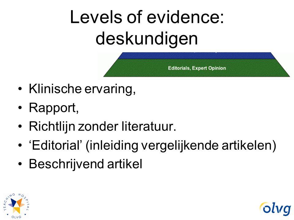 Levels of evidence: deskundigen Klinische ervaring, Rapport, Richtlijn zonder literatuur. 'Editorial' (inleiding vergelijkende artikelen) Beschrijvend