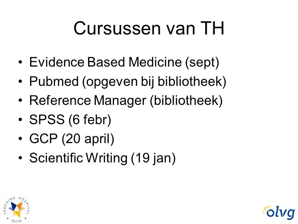 Cursussen van TH Evidence Based Medicine (sept) Pubmed (opgeven bij bibliotheek) Reference Manager (bibliotheek) SPSS (6 febr) GCP (20 april) Scientif