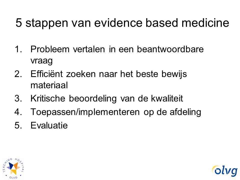 5 stappen van evidence based medicine 1.Probleem vertalen in een beantwoordbare vraag 2.Efficiënt zoeken naar het beste bewijs materiaal 3.Kritische b