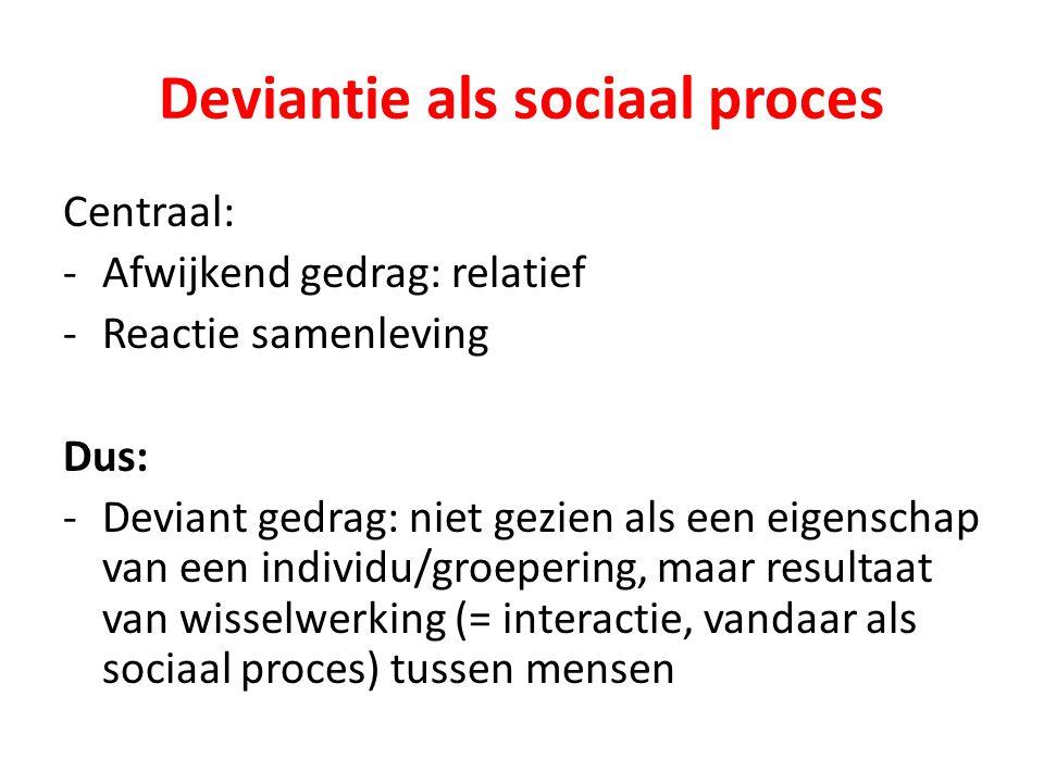 Deviantie als sociaal proces Centraal: -Afwijkend gedrag: relatief -Reactie samenleving Dus: -Deviant gedrag: niet gezien als een eigenschap van een i