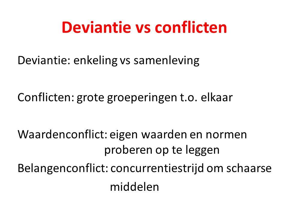 Deviantie vs conflicten Deviantie: enkeling vs samenleving Conflicten: grote groeperingen t.o. elkaar Waardenconflict: eigen waarden en normen probere