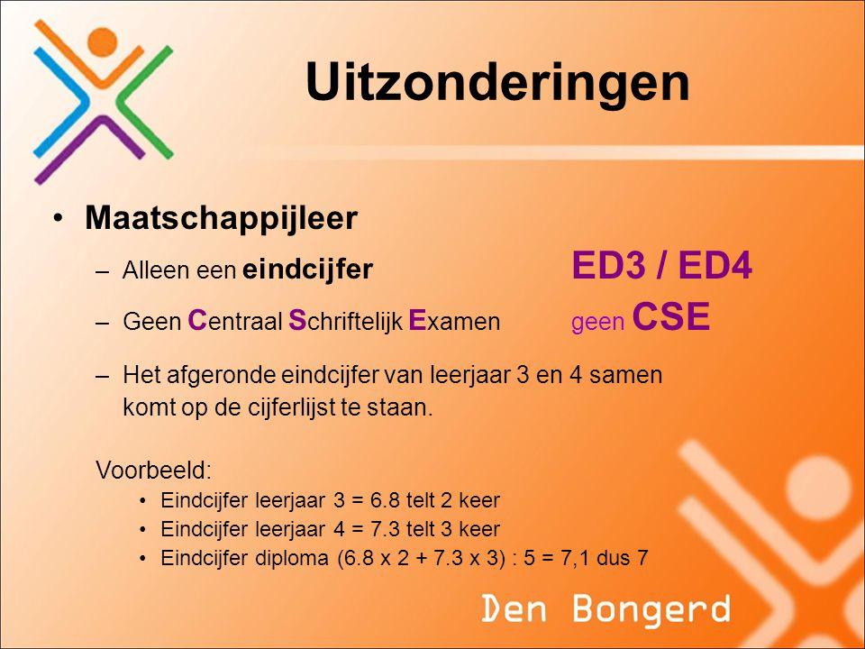 Uitzonderingen Maatschappijleer –Alleen een eindcijfer ED3 / ED4 –Geen C entraal S chriftelijk E xamengeen CSE –Het afgeronde eindcijfer van leerjaar