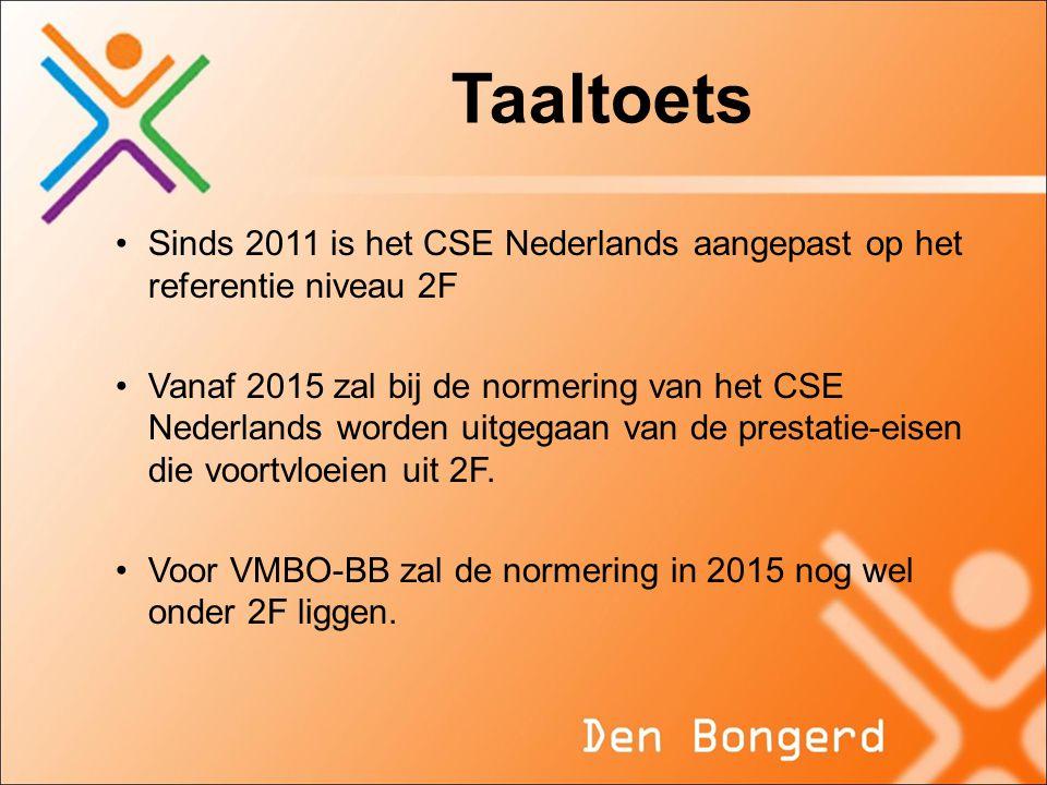 Taaltoets Sinds 2011 is het CSE Nederlands aangepast op het referentie niveau 2F Vanaf 2015 zal bij de normering van het CSE Nederlands worden uitgega