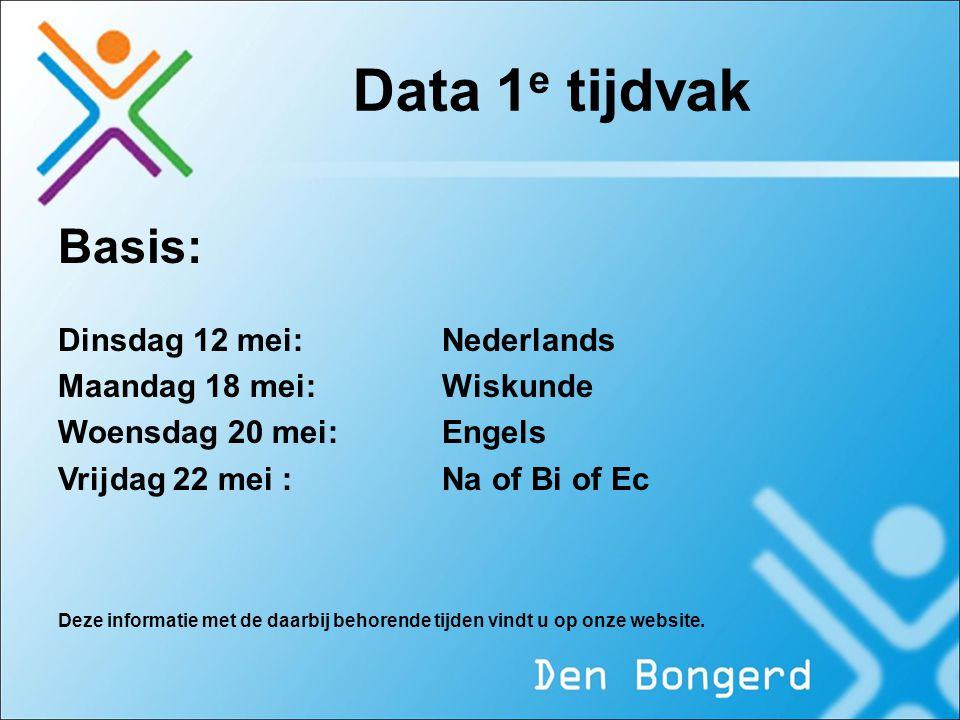 Data 1 e tijdvak Basis: Dinsdag 12 mei:Nederlands Maandag 18 mei:Wiskunde Woensdag 20 mei:Engels Vrijdag 22 mei :Na of Bi of Ec Deze informatie met de
