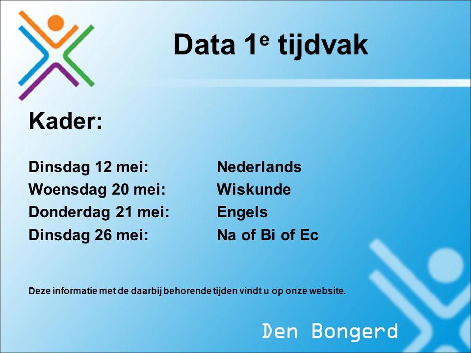 Data 1 e tijdvak Kader: Dinsdag 12 mei:Nederlands Woensdag 20 mei: Wiskunde Donderdag 21 mei: Engels Dinsdag 26 mei: Na of Bi of Ec Deze informatie me